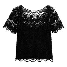 Buy Mango Crochet T-shirt, Black Online at johnlewis.com