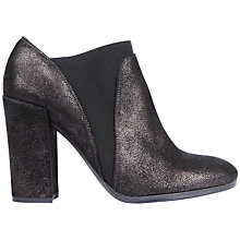 Buy Unisa Ligua Block Heel Ankle Boot, Black Leather Online at johnlewis.com
