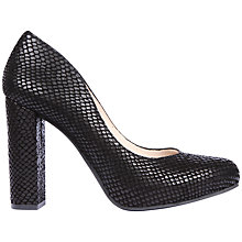 Buy Unisa Sete Block Heel Court Shoes, Black Leather Online at johnlewis.com