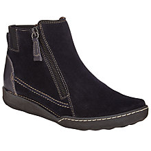 Buy John Lewis Designed for Comfort Yana Double Zip Suede Ankle Boots, Navy Online at johnlewis.com