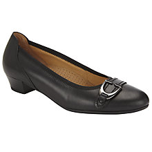 Buy Gabor Pembrooke Wide Fit Leather Block Heel Pumps, Black Online at johnlewis.com