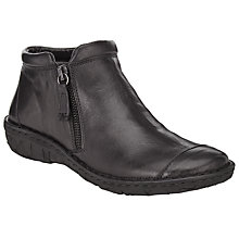 Buy John Lewis Designed for Comfort Yale Double Zip Leather Ankle Boots, Black Online at johnlewis.com
