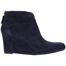 Buy Unisa Libi Wedge Heel Ankle Boot, Navy Suede Online at johnlewis.com