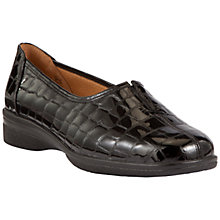 Buy Gabor Alice Extra Wide Fitting Slip On Loafers, Black Patent Online at johnlewis.com