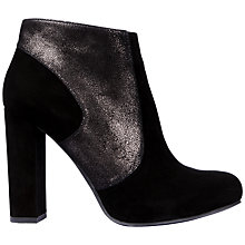 Buy Unisa Safir Block Heel Ankle Boot, Black Leather Online at johnlewis.com