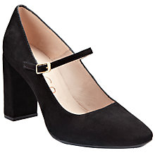 Buy Unisa Mada Classic Ankle Strap Court Shoes, Black Suede Online at johnlewis.com