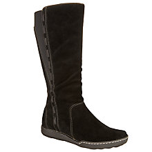 Buy John Lewis Designed for Comfort Tess Long Suede Calf Boots, Black Online at johnlewis.com