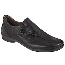 Buy Gabor Rush Leather Flat Shoes, Black Online at johnlewis.com
