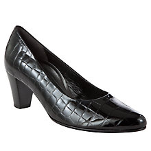 Buy Gabor Beautiful Block Heeled Wide Fit Court Shoes, Black Patent Online at johnlewis.com