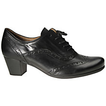 Buy Gabor Denver Mid Heel Brogues, Black Leather Online at johnlewis.com
