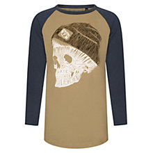 Buy Animal Boys' 3/4 Sleeve Skull Print T-Shirt, Brown/Grey Online at johnlewis.com