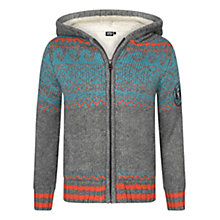 Buy Animal Boys' Docked Wave Borg Lined Zip Through Hoodie, Grey/Multi Online at johnlewis.com