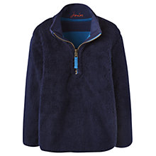 Buy Little Joule Boys' Thomas Reversible Half-Zip Fleece, Azure Blue Online at johnlewis.com
