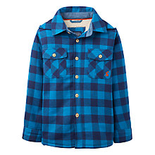 Buy Little Joule Boys' Doolan Check Hood Shirt, Azure Blue Online at johnlewis.com