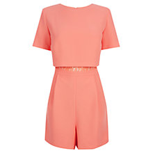 Buy Oasis Lace Insert Playsuit, Coral Online at johnlewis.com