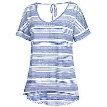 Buy Fat Face Linen V-neck Stripe T-Shirt, White Online at johnlewis.com