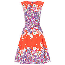 Buy Adrianna Papell Side Panel Pleat Dress, Orange/Multi Online at johnlewis.com