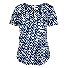 Buy Fat Face Jasmine Batik Wave T-Shirt, Blue/Ivory Online at johnlewis.com