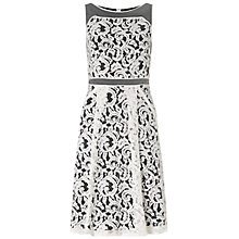 Buy Adrianna Papell Bateaux Fit And Flare Dress, Ivory/Black Online at johnlewis.com
