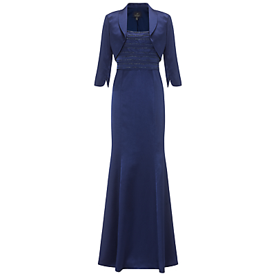 Adrianna Papell Beaded Shantung Gown With Jacket Navy £175.00 AT vintagedancer.com