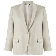 Buy Jigsaw Linen-blend Blazer, Stone Online at johnlewis.com