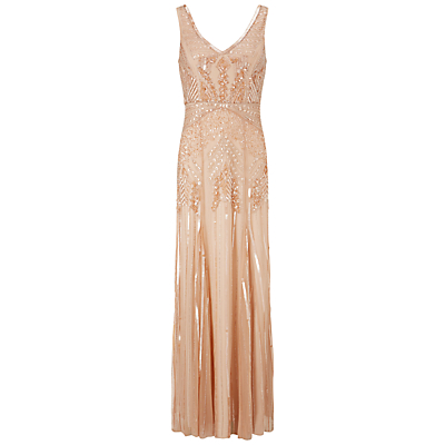 Adrianna Papell Long Beaded Dress Petal £340.00 AT vintagedancer.com