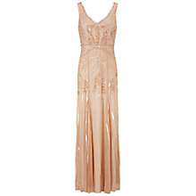 Buy Adrianna Papell Long Beaded Dress, Petal Online at johnlewis.com