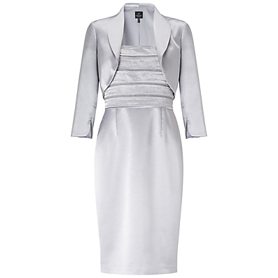Adrianna Papell Beaded Shantung Dress With Jacket, Silver