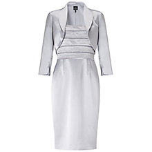 Buy Adrianna Papell Beaded Shantung Dress With Jacket, Silver Online at johnlewis.com