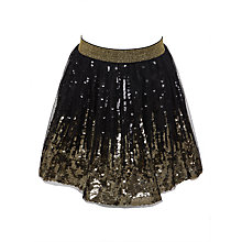 Buy John Lewis Girls' Ombre Sequin Skirt, Black/Gold Online at johnlewis.com