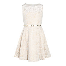 Buy John Lewis Girls' Jacquard Floral Prom Dress, Gold Online at johnlewis.com