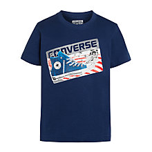 Buy Converse Boys' Name Tag T-Shirt, Navy Online at johnlewis.com