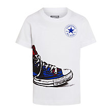 Buy Converse Boys' Shoe Wrap Print T-Shirt, White Online at johnlewis.com