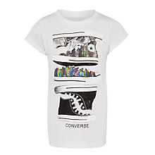 Buy Converse Children's Stacked Sneaker T-Shirt, White Online at johnlewis.com