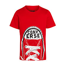 Buy Converse Boys' Shoe Peak T-Shirt, Red Online at johnlewis.com