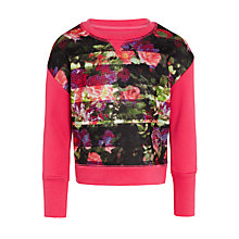 Buy Converse Girls' Cropped Floral Sweatshirt, Pink Online at johnlewis.com
