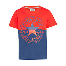 Buy Converse Boys' Split T-Shirt, Navy/Red Online at johnlewis.com