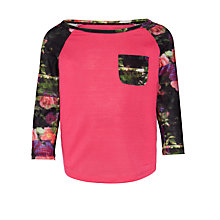 Buy Converse Girls' Contrast Sleeve Top, Pink Online at johnlewis.com