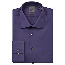Buy CK Calvin Klein Cannes Plain Fitted Cotton Shirt, Eggplant Online at johnlewis.com