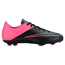 Buy Nike Children's Mercurial Victory V FG Football Boots, Black/Pink Online at johnlewis.com