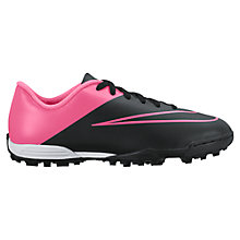 Buy Nike Children's Mercurial Vortex II TF Football Boots, Black/Pink Online at johnlewis.com