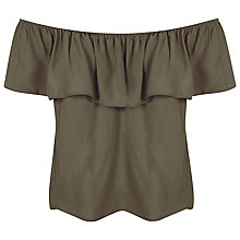 Buy Miss Selfridge Ruffle Bardot Top, Khaki Online at johnlewis.com