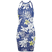 Buy Miss Selfridge Tropical Print Jersey Dress, Blue/Multi Online at johnlewis.com