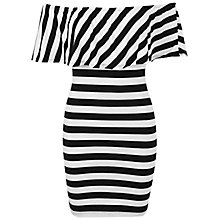 Buy Miss Selfridge Stripe Ruffle Bardot Dress, White/Black Online at johnlewis.com