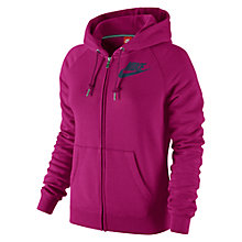 Buy Nike Rally Futura Full-Zip Hoodie, Sport Fuchsia Online at johnlewis.com