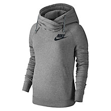 Buy Nike Rally Funnel Neck Hoodie, Carbon Heather/Cool Grey Online at johnlewis.com