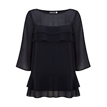 Buy Mint Velvet Ruffle Front Top, Blue Online at johnlewis.com