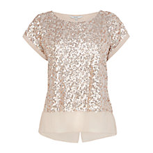 Buy Coast Ruvern Sequin Top, Glazed Pear Online at johnlewis.com