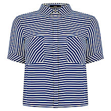Buy Oasis Stripe Crop Shirt, Multi Blue Online at johnlewis.com