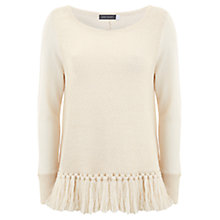 Buy Mint Velvet Fringe Hem Knit Top, Neutral Online at johnlewis.com